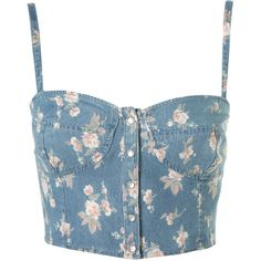 Petite Ditsy Denim Bralet (355 VEF) ❤ liked on Polyvore featuring tops, shirts, bralets, bustier, bustier shirt, denim shirt, petite shirts, topshop shirt and shirts & tops