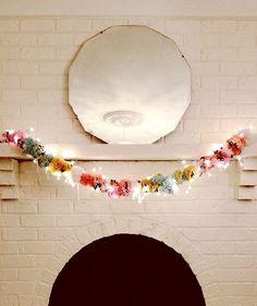 DIY Pom Pom Garland from Design Sponge. Festive and super cute for the holidays, post-Chrismas!