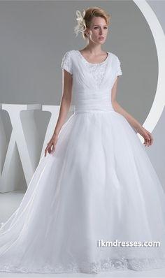 http://www.ikmdresses.com/Zipper-back-Petite-Satin-A-Line-3-4-Length-Sleeve-Wedding-Dress-p20152