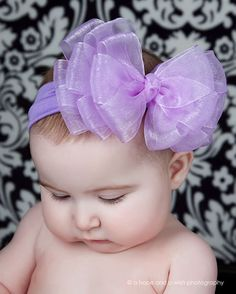 Big Boutique Baby Chiffon Layered Headband by poshlittletutus.com Infant  Hair Bows 480789062726