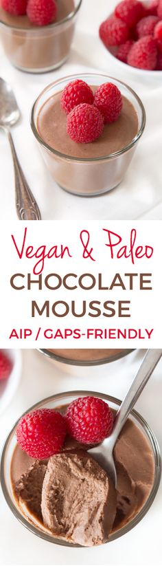 This paleo vegan chocolate mousse is easy to make and egg-free! Also GAPS and AIP-friendly. Perfect for Valentine's Day or whenever you're in the mood for a healthy, chocolaty treat (that really is de (Avocado Chocolate Mousse) Paleo Dessert, Dessert Sans Gluten, Paleo Sweets, Healthy Dessert Recipes, Gluten Free Desserts, Dairy Free Recipes, Whole Food Recipes, Healthy Snacks, Vegan Recipes