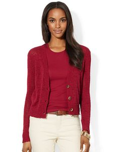 Brands | Sweaters | Petite V Neck Cotton Cardigan | Lord and Taylor