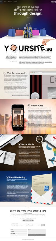 One pager for digital agency 'Yoursite' based in Singapore. There are some cool elements in this page, particularly how the top menu expands further once you get into the services section. Also like that little touch with the moving sketched Twitter birds on the paper in the Social Media section.