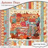 Autumn  #Digital Scrapbook Kit  #Orange #Blue #Red