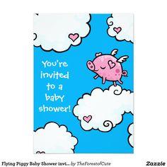 "Flying Piggy Baby Shower invite 5"" X 7"" Invitation Card"