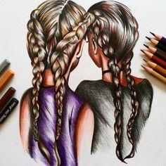 illustration, girls, draw, hair ideas