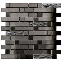 Black Stainless With Black Wave Glass Mosaic Tile (EMT_1302-MIX-SM)