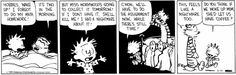 Calvin and Hobbes doing math homework late at night and maybe getting coffee from mom.