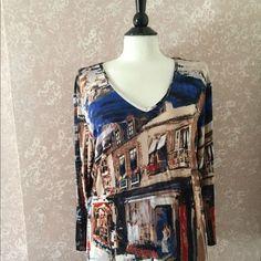 Chico's Travelers 3 Top Blue Brown Print Long Sleeve Slinky Tee Womens 16 #ChicosTravelers #TeeTop #Casual