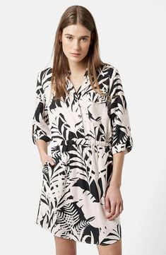 Topshop Leaf Print Shirtdress available for $80.00