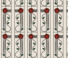 Mackintosh Glasgow Rose (tan) fabric by studiofibonacci on Spoonflower - custom fabric