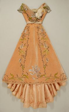 the detail inside the lining contributes to the beauty of this dress from  1898-1900