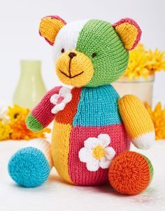 Free Knitting Pattern for Sherbert Bear - This colorful bear is knit with easy intarsia patchwork that makes it great for stash or scrap yarn. 20 cm tall. Designed by Sachiyo Ishii. The file needs to be unzipped after download.