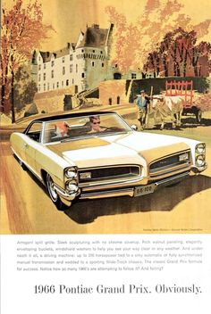 1966 AD '66 Pontiac Grand Prix Yellow Farmer w/ Ox Cart Mansion Fall Colors