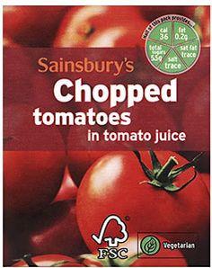 Sainsbury's carton of chopped tomatoes