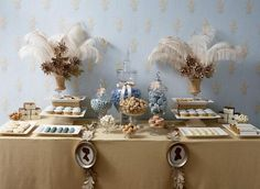 Gold and Ivory Wedding Ideas | like the silhouettes on the candy table! | Gold and Ivory ideas