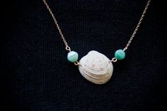 Handmade sea shell necklace on gold chain by KeamaluJewelry