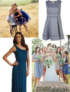 blue mismatched bridesmaid dresses blog