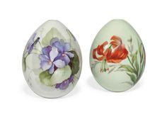 TWO RUSSIAN PORCELAIN EASTER EGGS BY THE IMPERIAL PORCELAIN FACTORY, LATE 19TH CENTURY