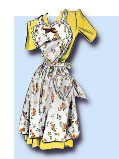1940s Vintage Simplicity Sewing Pattern 4825 Uncut WWII Misses Heart Apron Sz SM