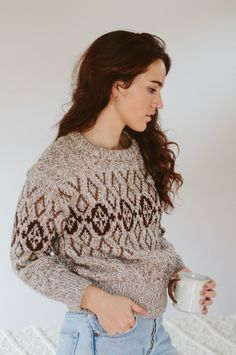 The Mop Top in her Wool Whimsy + Row Cable Knit Sweater. Outmeal 6b93614d6