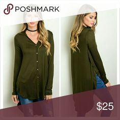 """Olive Top Coming Soon   Description   This jersey knit top features long sleeves, button down front and hi low hem.  Fabric   95% Rayon 5% Spandex   Size Small Measurements   Length: 38""""  Bust: 38""""   Price Firm! No offers please!   No trades.  No holds. Tops Tees - Long Sleeve"""