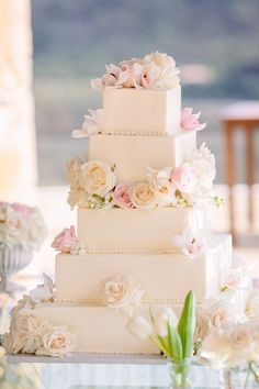 Squared Wedding Cake with Roses | Photo: Brian Leahy Photography. View More: http://www.insideweddings.com/weddings/two-music-managers-marry-at-malibu-estate-with-stunning-views/910/