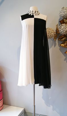 60s Dress // Vintage 1960s MOD Chiffon Cocktail Dress in Black and White