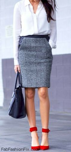 White blouse, pencil skirt and strappy sandals for spring style. LOVE the skirt, leather and herringbone.