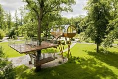 a treehouse with a deck