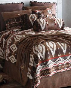 Pecos Trail Queen Comforter Bedding Set | Southwestern style Housewares rustic western Native American design Navajo Indian Aztec decor bed sheets comforter drysdales.com bed in a bag outdoors the american west colorado wyoming montana lodge cabin country home #countryhome #countryliving #rustichome #logcabindecor