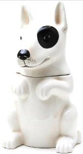 LITTLE BEGGAR Bull Terrier Dog Ceramic Cookie Jar Treats,$26.99