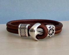 Anchor Bracelet Mens Leather bracelet Cuff Nautical Sailing Bracelet Customized On Your Wrist Bracelet Sizes, Bracelet Patterns, Bracelets For Men, Cuff Bracelets, Leather Bracelet Tutorial, Bracelet Cuir, Leather Jewelry, Leather Working, Leather Men
