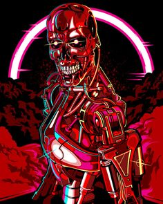 Cool Art: by Samuel Ho - Hero Complex Gallery & Planet Pulp presents 'Red' Terminator 1984, Terminator Movies, King Kong, The Glitch Mob, New Retro Wave, Movie Poster Art, Arte Pop, Marvel, Sci Fi Art