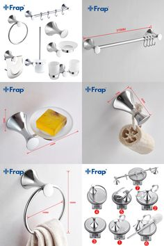 [Visit to Buy] Frap 7 Pieces Bathroom Accessories Hook Towel Ring Toothbrush Cup Toilet Paper Holder Toilet Brush F35T7 #Advertisement