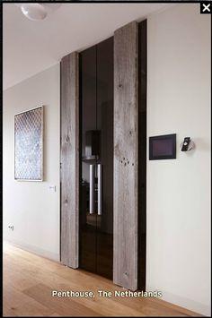 Modern door with grey Barnwood - Barn in the city