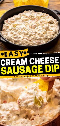Looking for great dips and appetizers for parties? This Cream Cheese Sausage Dip is filled with sausage, cream cheese, sour cream, and tomatoes perfect for your 4th of July party! Enjoy your finger foods with this dip! Best Appetizer Recipes, Potluck Recipes, Barbecue Recipes, Yummy Appetizers, Appetizers For Party, Keto Recipes, Sausage Dip, Cheese Sausage, Good Food