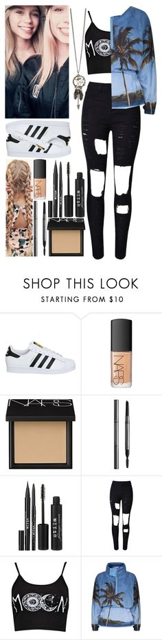 """TBT: Meeting Lisa and Lena"" by me-is-a-pizza ❤ liked on Polyvore featuring adidas, NARS Cosmetics, Burberry, Stila, WithChic and Boohoo"