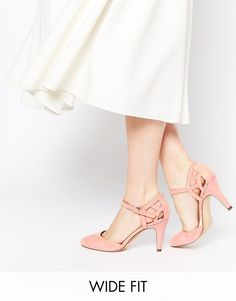 2b9441d6f6dd New Look Wide Fit Quail Pink Two Part Heeled Shoes at asos.com