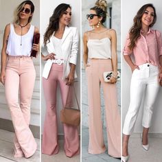 Qual seu look preferido? Classy Outfits, Chic Outfits, Summer Outfits, Fashion Outfits, Mode Pro, Work Fashion, Fashion Looks, Pantalon Large, Professional Outfits