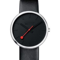 The official, exclusive Swiss Railways Watch. This Mens Mondaine watch has a stainless steel case, set around a black dial, featuring black markers and sweeping red hand. A black leather strap completes the look. Watch is 3 ATM. Stainless Steel Case, Cool Watches, Daniel Wellington, Omega Watch, Black Leather, Clock, Accessories, Switzerland, Design