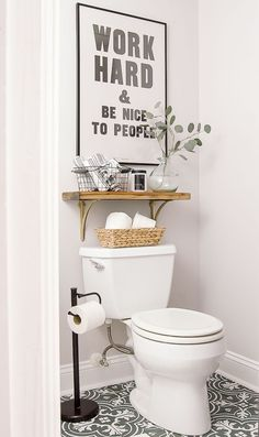Grey and white bathroom. Bathroom sign. Farmhouse minimalist work hard and be nice to people quote, #afflink