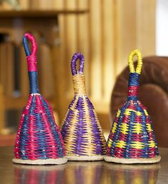 African Woven Straw Maraca Shakers