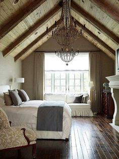 Love this #rustic attic bedroom with a dramatic a-frame ceiling.