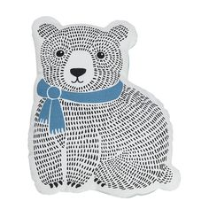Bloomingville Mini Cushion Cotton White Bear With Blue Scarf
