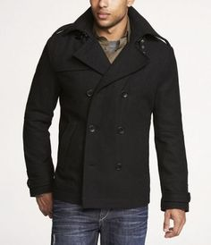 Guess Coat, Single Breasted Wool-Blend Hooded Pea Coat - Mens ...