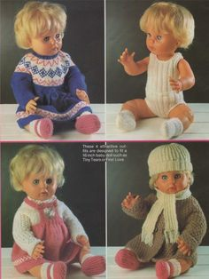 Dolls Clothes Knitting Pattern : 16 inch doll : Tiny Tears : First Love Doll Knitting Dolls Clothes, Knitted Dolls, Doll Clothes Patterns, Doll Patterns, Clothing Patterns, Tiny Tears Doll, Dog Coat Pattern, Bitty Baby Clothes, Clothespin Dolls
