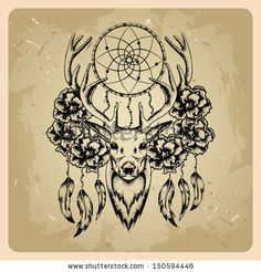 Deer with flowers and dream catcher .rasterized/bitmap version - stock photo