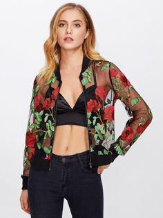 Jackets by BORNTOWEAR. Rose Embroidered Mesh Bomber Jacket