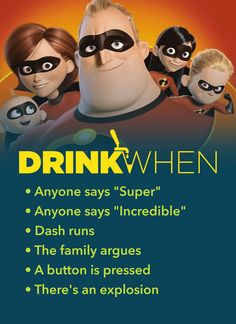 Feel incredible playing The Incredibles Drinking Game. Drink When The family argues, A button is pressed. Disney Drinking Game Drinking Games for 2 Pixar Drinking Game games The Incredibles Drinking Game Tv Show Drinking Games, Drinking Games For Parties, Adult Party Games, Adult Games, Abc Games, Game Party, Outdoor Games For Kids, Games For Teens, Bachelorette Drinking Games